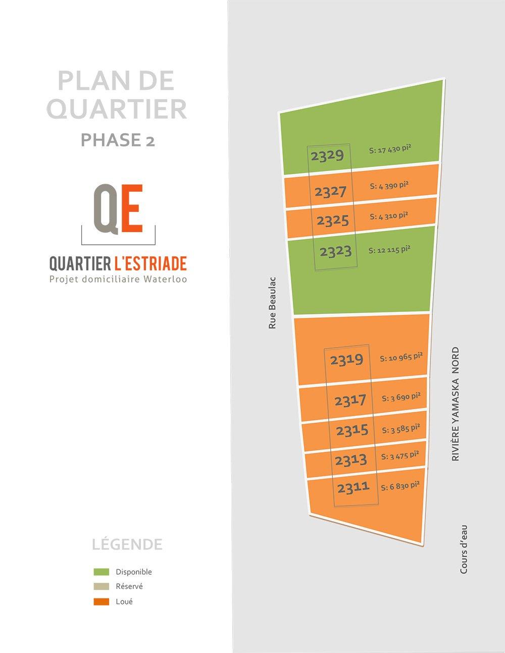 Plan du Quartier de l'Estriade Pahse 2